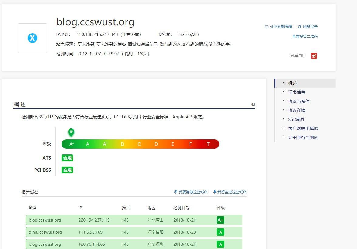 配置Nginx使SSL/TLS安全评估达到A+