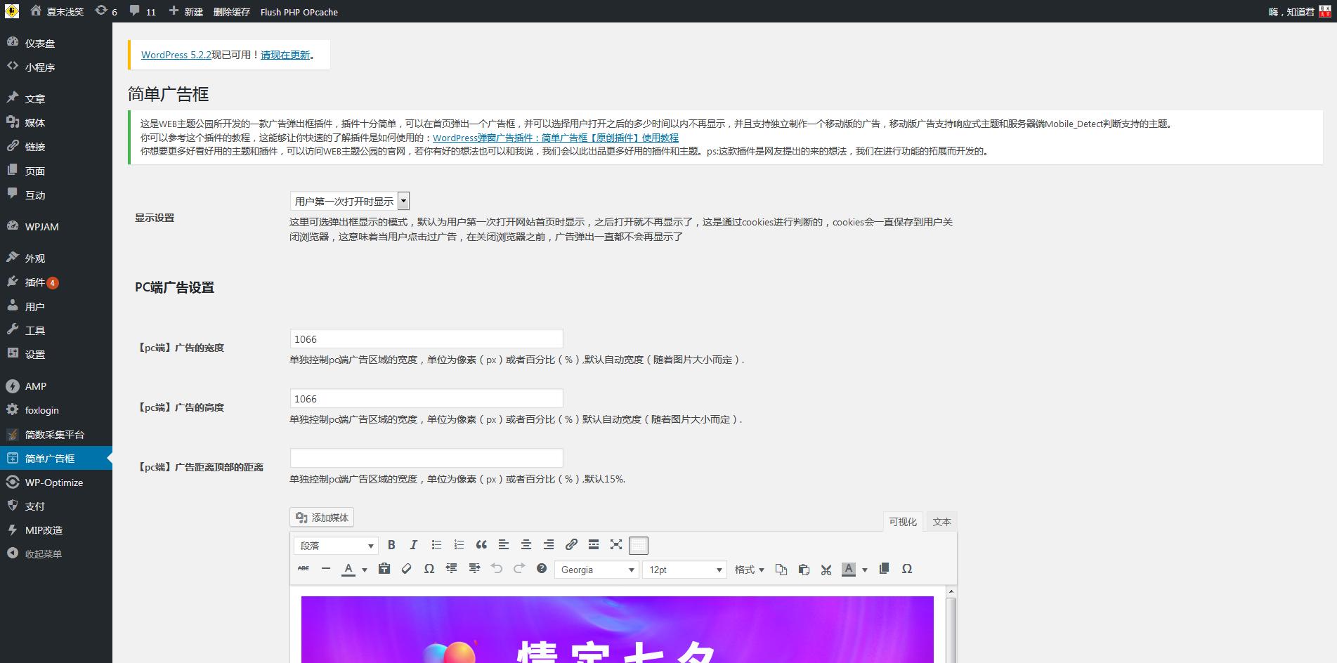 WordPress首页简单广告框弹窗两种方法实现纯代码+插件