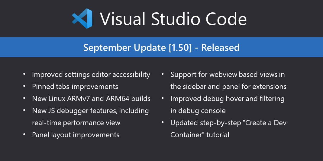 Visual Studio Code 1.50 稳定版发布